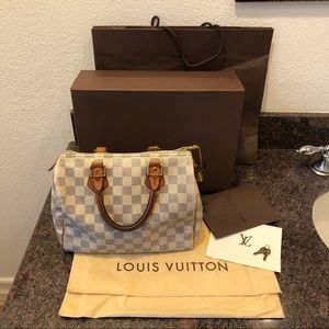 Louis Vuitton Damier Azur Speedy 25 Satchel